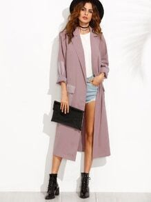 Purple Lapel Pocket Split Long Sleeve Outerwear