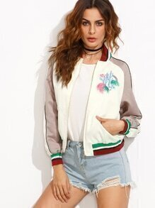 Color Block Embroidered Pocket Long Sleeve Jacket
