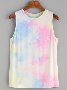 Watercolor Print Round Neck Tank Top