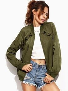 Army Green Criss Cross Trim Pocket Bomber Jacket
