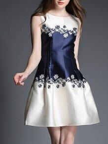 Navy Color Block Print A-Line Dress