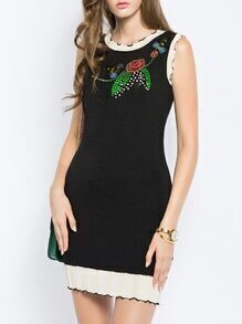 Black Bees Beading Sequined Sheath Dress