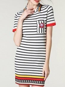 White Black Striped Lapel Sheath Dress
