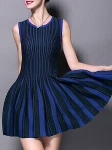 Blue Green Color Block Pleated A-Line Dress