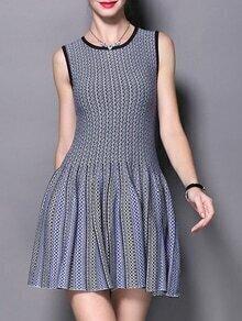 Royalblue Black Color Block Pleated A-Line Dress