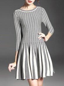 White Black Color Block Pleated A-Line Dress