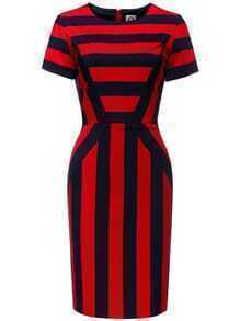 Red Navy Color Block Striped Sheath Dress