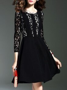 Black Crew Neck Contrast Lace A-Line Dress