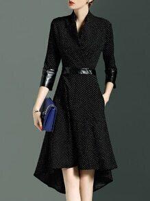 Black V Neck Contrast Pu Pockets High Low Dress