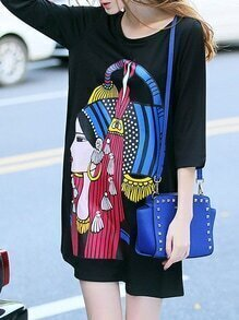Black Character Print Beading Shift Dress