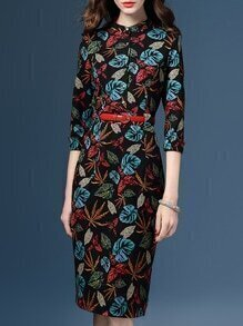 Black Leaves Print Belted Sheath Dress