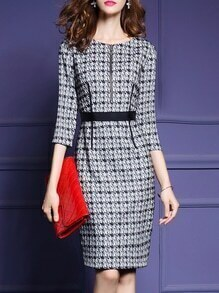 Black Zipper Houndstooth Sheath Dress