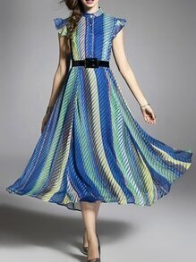 Blue Color Block Ruffle Sleeve Belted Dress