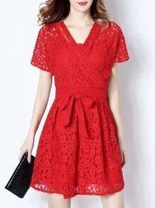 Red V Neck Tie-Waist Lace Dress