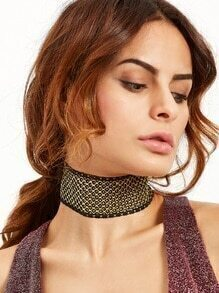 Black Lace Hollow Out Wide Choker