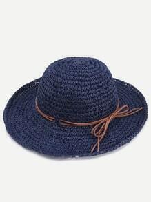 Navy Contrast Tie Embellished Beach Hat