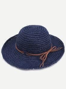 Navy Contrast Tie Embellished Beach Hat
