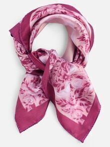 Floral Print Small Square Scarf