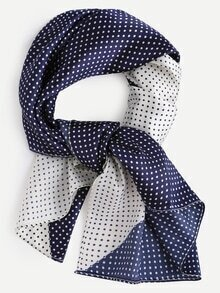 Colorblock Polka Dot Print Square Scarf