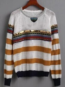 Multicolor Striped Eyelet Sweater
