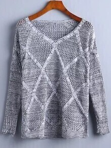 Grey V Neck Diamondback Ribbed Sweater