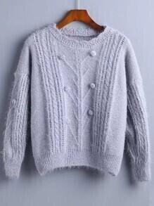 Grey Pompom Detail Drop Shoulder Sweater