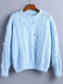 Blue Pompom Detail Drop Shoulder Sweater