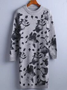 Grey Ink Panting Print Sweater Dress