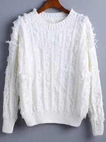 White Ribbed Trim Fringe Sweater