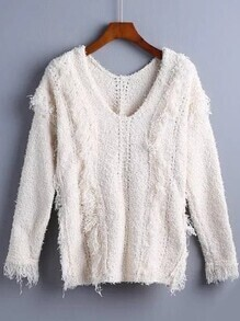 Beige V Neck Fringe Perforated Sweater
