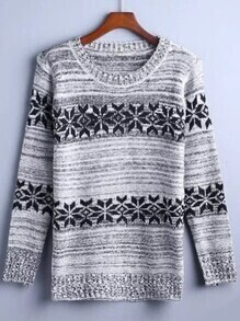 Grey Snowflake Pattern Sweater