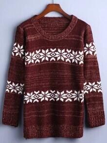 Burgundy Snowflake Pattern Sweater