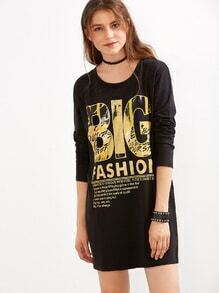 Black Letters Print T-shirt Dress