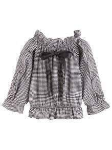 Black And White Grid Ruffle Bow Tie Blouse