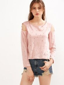 Pink Distressed Metal Eyelet Cut Out Dip Hem T-shirt