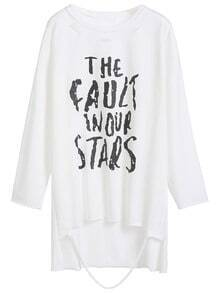 White Letters Print Drop Shoulder Dip Hem Distressed T-shirt
