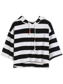 Striped Dropped Shoulder Seam High Low Drawstring Hooded T-shirt
