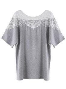 Heather Grey Contrast Lace Crochet T-shirt
