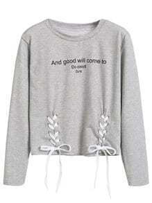 Heather Grey Letters Print Lace Up Front T-shirt