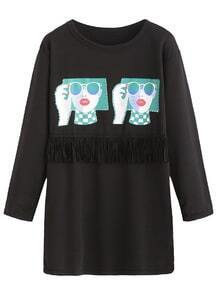 Black Girl Print Fringe T-shirt