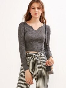 Grey Notch Neck Crop Knit T-shirt