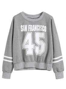 Grey Number Print Varsity Striped Drop Shoulder Sweatshirt