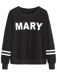 Black Letter Print Varsity Striped Sweatshirt