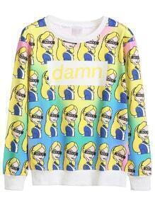 Contrast Trim Girl And Letter Print Sweatshirt