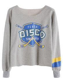 Grey Printed Sleeve Striped Drop Shoulder Sweatshirt
