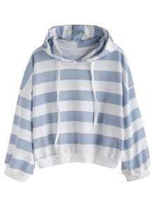 Wide Striped Dropped Shoulder Seam Drawstring Hooded Sweatshirt