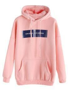 Pink Letter Print Drop Shoulder Pocket Hooded Sweatshirt
