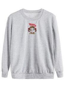 Light Grey Girl Embroidered Sweatshirt