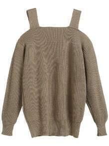 Khaki Cold Shoulder Sweater