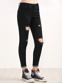 Black Ripped Rolled Hem Skinny Jeans